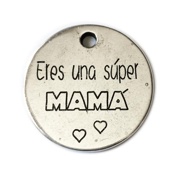 """Llavero personalizado con la frase: """"SUPER MAMÁ"""". Puedes grabar detrás tu mensaje."""