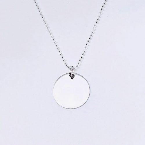 Cadena fina de bolas plata de ley. Medalla grande 20MM plata de ley.