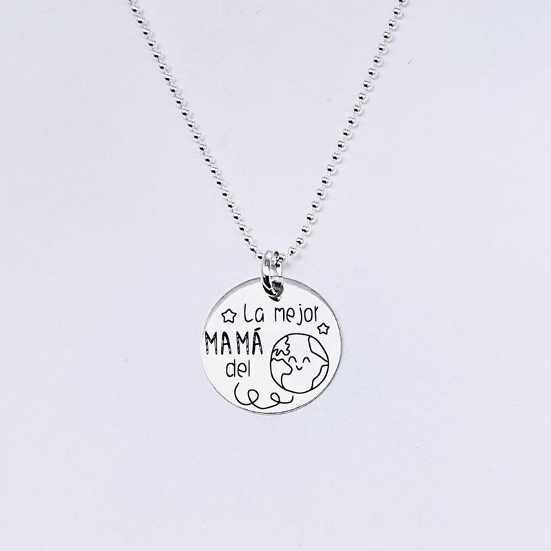Cadena fina de bolas plata de ley. Medalla mediana 15MM plata de ley.