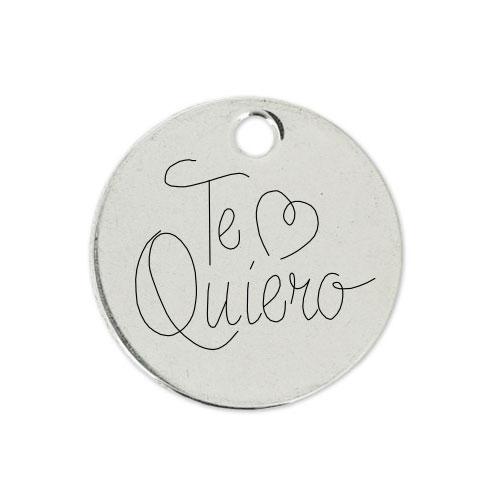 Medalla Personalizada de 22 mm Te Quiero Corazón